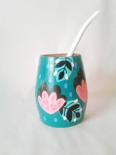 Tole Painting, Pottery Painting, Flora Vector, Terracotta Paint, Wood Mug, Painted Flower Pots, Painted Cups, Posca, Air Dry Clay