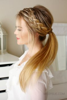Side braid ponytail updo