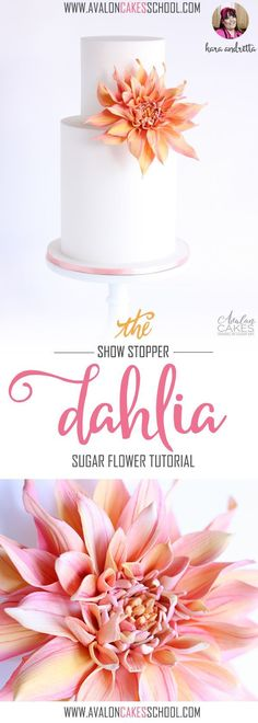 Gumpaste Sugar Dahlia, it's BIG and beautiful and quiet the show-stopper! It's based on a cafe au lait dahlia! Full video tutorial with instructor Kara Andretta! http://www.avaloncakesschool.com