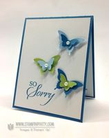 Stamp Set:  So Sorry Paper:  Bashful Blue, Marina Mist, Certainly Celery, Whisper White Ink:  Marina Mist Cool Tools:  Elegant Butterfly Punch, Bitty Butterfly Punch The Perfect Touch:  Pearl Basic Jewels