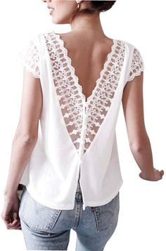 2019 Women Shirt Chiffon Blusas Femininas Lace Tops Sexy V neck Backless Short Sleeve Elegant Ladies White Blouse Shirt clothing Crochet Buttons, Crochet Shirt, Crochet Lace, Zara Tops, Sexy Bluse, V Neck Blouse, Sleeveless Blouse, Lace Sleeves, Short Sleeves