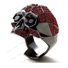 14K Black Gold FN Mens Skull Garnet & Diamond Wedding Engagement Pinky Ring Band #aonebianco #Skull