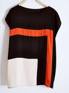 Black Contrast Panel Chiffon Dolman Sleeve Blouse