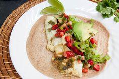 fish tacos w/ strawberry-cucumber salsa.