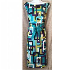 Jessica Howard Woman 18W geo green and blue dress Excellent condition. Zips up the back. Jessica Howard Dresses Midi