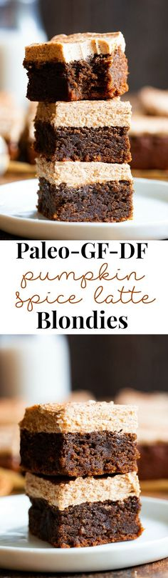 These Paleo Pumpkin Spice Latte Blondies are a fun spin on your favorite hot fall beverage! Soft fudgy pumpkin blondies flavored with lots of pumpkin pie spices and espresso are topped with a creamy frosting for the ultimate fall themed paleo blondies! Paleo Dessert, Dessert Sans Gluten, Paleo Sweets, Healthy Desserts, Dessert Recipes, Healthy Recipes, Pumpkin Coffee Cakes, Pumpkin Spice Coffee, Keto Coffee Recipe