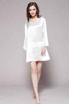 This 100-percent top quality silk nightgowns for women are made of 19 momme mulberry silk. $87 #nightgowns #silk #lilysilk