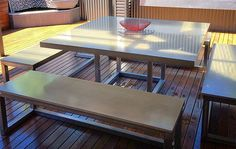 Makers Lane :: Outdoor Concrete Table and Bench Setting Custom Made, Bespoke Furniture made in Australia.