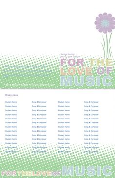 Editable Music Programs Templates For Programs Concerts Plays