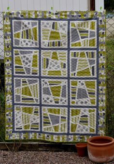 Wonderfully modern and very sweet baby boy quilt by Dianne Neale from Quilt Nova…