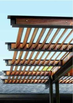 Steel beam pergola idea