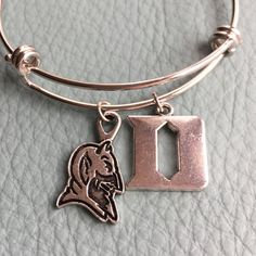 Silver Duke Blue Devils Bangle Inspired by Charm by Arrimage