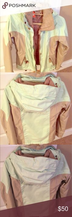 Women's burton ski/snowboarding jacket Excellent condition with no signs of wear/tear. Pale turquoise and taupe in color. Has many pockets and snap sleeves for easy on and off gloves. Burton Jackets & Coats