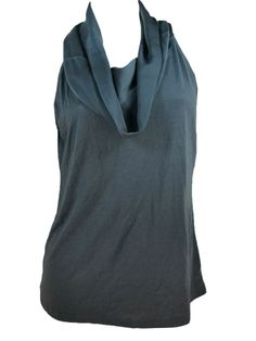 Ann Taylor Cowl Neck Shirt Medium Petite Draping Top Gray Sleeveless Silky NEW