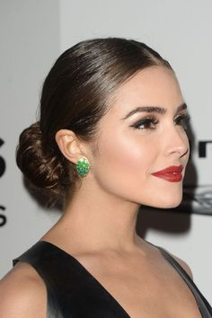 Olivia Culpo Classic Bun - Olivia Culpo opted for a classic center-parted bun wh. - Olivia Culpo Classic Bun - Olivia Culpo opted for a classic center-parted bun when she attended the NBCUniversal Golden Globes after-party. Spanish Hairstyles, Low Bun Hairstyles, Wedding Hairstyles, Quinceanera Hairstyles, Updo Hairstyle, Celebrity Hairstyles, Bridesmaid Hair Updo, Bridal Hair Updo, Bridal Makeup