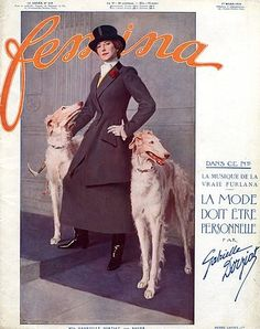 Gabrielle Dorziat 1914 Portrait, Borzoi Sighthound Greyhound Dogs