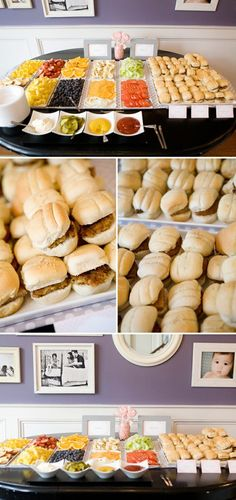 Build your own burger bar. Cute for baby shower. Mini burger bar for Meg's shower :) Sandwich Bar, Sandwich Station, Sandwich Ideas, Brunch, Snacks Für Party, Bbq Party, Party Appetizers, Party Food Bars, Fruit Party
