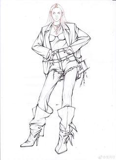 微博 Figure Sketching, Figure Drawing, Fashion Design Drawings, Fashion Sketches, Fashion Books, Fashion Art, Fashion Sketch Template, Flat Drawings, Fashion Illustration Dresses