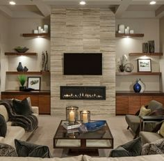 18 Lovely Living Room Designs With Wall Mounted TV - Decoration, Room Decoration, Decoration Appartement, Home Decor, Bedroom Decor Family Room Design, Fireplace Built Ins, Home, Linear Fireplace, Living Room Tv Wall, Room Design, Home Fireplace, Fireplace Design, Home Living Room