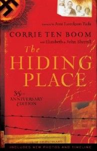 Born in Holland in 1892, Corrie ten Boom was 48 when the Nazi's invaded in 1940. Corrie, her older sister, and elderly father risked their lives to take in Jewish refugees and hide them in a tiny room at the top of their house. Their story was recorded in a book called The Hiding Place and recreated in a movie of the same name.