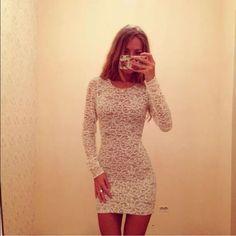 White lace dress Long sleeve Dresses