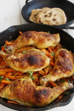 Spiced Chicken Leg Quarters that cook over cilantro lime carrots. The carrots keep the chicken out of it's juices and the chicken juices coo...  #21dsd #chicken