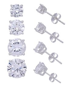 Look at this Cubic Zirconia Round Graduated Stud Earrings Set on #zulily today!
