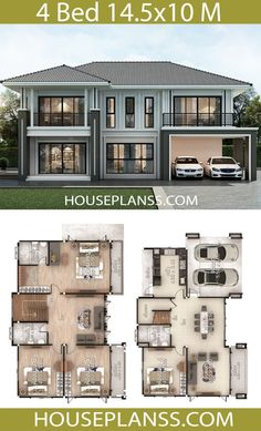House Plans Idea 14 with 4 bedrooms - House Plans Sam Sims House Plans, House Layout Plans, Barn House Plans, Craftsman House Plans, Dream House Plans, House Layouts, Family House Plans, 2 Storey House Design, Duplex House Design