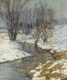 Winter Afternoon,  Edward Willis Redfield. American Impressionist Painter (1869 - 1965)