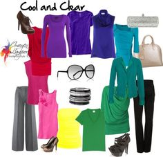 A co-ordinated wardrobe has a cohesive feel. The personal style of the owner is fairly definable, there may also be a range of signature style elements too. There is a relationship of colour properties within the colour palette so that garments are easy to mix and match. You can see in the following pictures how when colours have similar colour properties, they co-ordinate easily together.