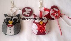 Kişiye özel keçe anahtarlıklar, çanta süsleri. Daha fazlası için www.juliettesdesign.com  Personalized felt key holder, felt owl. For more visit www.juliettesdesign.com