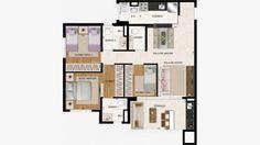 Apto de 86 m² c/ 3 dorms (1 suite). Lavabo e terraço c/ churrasqueira e pia.