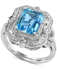 Ocean Bleu by Effy Aquamarine (2-2/5 ct. t.w.) and Diamond (2/5 ct. t.w.) Ring in 14k White Gold
