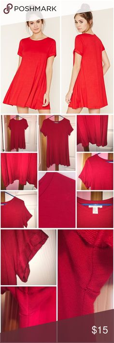 "French Terry T-Shirt Dress Never worn; just washed. Does have some pilling. As seen in the photos in the arm pit area the dress wasn't sewn that great. Cuffed short sleeves. Crew neckline and slight flared hem. 95% rayon and 5% spandex. Approx 30"" in length and 32"" bust. ❌NO TRADES❌ Forever 21 Dresses Mini"