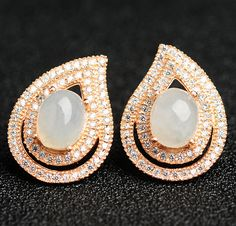 Excellent 100% A Grade Natural Jade/Jadeite 925 Sterling Silver Stud Earrings With Certificado