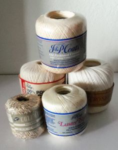 Items similar to Crochet Thread Lot of 5 in Neutral Colors on Etsy Cheap Yarn, Thread Crochet, Neutral Colors, Jar, Unique Jewelry, Handmade Gifts, Vintage, Etsy, Decor
