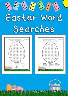 Freebie! Here are 2 Easter themed words searches. There are 10 words for each word search. The search is in the shape of an Easter egg with a decorative Easter themed border. Enjoy!