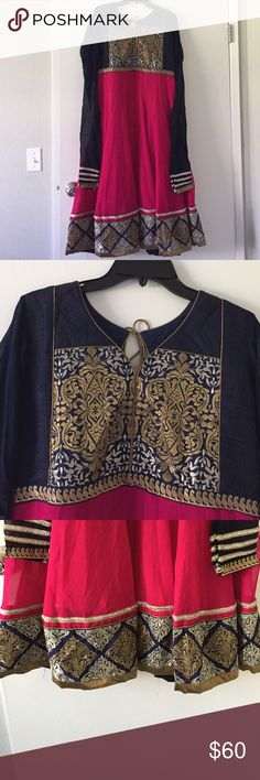 Indian Dress Indian Anarkalee Dress. Worn once!! The sleeves look very long in the picture. However, when you wear it, the sleeves are meant to scrunch at the wrist (looks very pretty). Dark navy blue, dark pink, golden, and silver color. Dresses