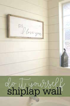 Master Bath Upgrade: How to Install a DIY Shiplap Wall - Master Bath Upgrade: How to Install a DIY Shiplap Wall - Farmhouse Style Decorating, Farmhouse Decor, Home Improvement Projects, Home Projects, Furniture Projects, Diy Furniture, Installing Shiplap, Wall Trim, Ship Lap Walls