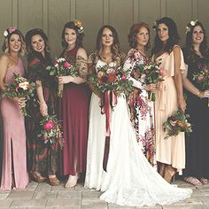 Take a look at the best mismatched bridesmaid dresses in the photos below and get ideas for your own outfits! These mismatched bridesmaid dresses are so pretty! (and what a great photo idea, too) Jewel Tone Bridesmaid, Mismatched Bridesmaid Dresses, Bridesmaids And Groomsmen, Wedding Bridesmaids, Wedding Dresses, Bridesmaid Gowns, Floral Bridesmaids, Mismatched Groomsmen, Bohemian Bridesmaid