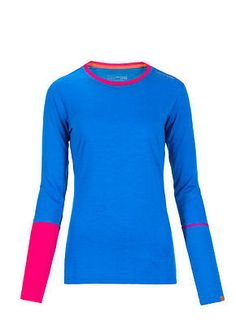 Maglia donna primo strato Ortovox Merino Rock'n'wool long sleeve w vivid blue