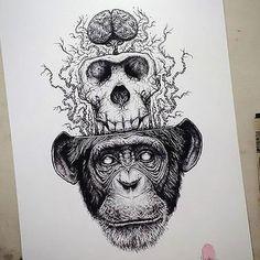 Monkey Skull Brain Tattoo Design