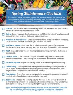 Home's Spring Maintenance Checklist - Taking care of your home regularly . Your Home's Spring Maintenance Checklist – Taking care of your home regularly will ensure you won't be faced with costly deferred maintenance repairs later on. Source by Real Estate Articles, Real Estate Information, Real Estate News, Home Maintenance Checklist, Exit Realty, Local Contractors, Home Selling Tips, Home Ownership, Spring Home