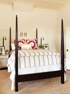 The Euro shams take center stage when paired with simple striped bedding and a streamlined Amish-made bed.