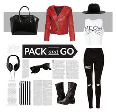 """Pack and Go"" by itsmickymarquez ❤ liked on Polyvore featuring Miss Selfridge, Topshop, Marc Jacobs, Ray-Ban, MICHAEL Michael Kors, BareTraps, Études, Givenchy and Pryma"