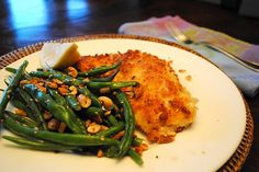 Parmesan Panko Chicken Cutlets with Cashew Green Beans. Easy weeknight meal! YUM!