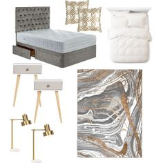 Attractive A Home Decor Collage From May 2017. Gray Gold BedroomGray ...