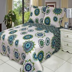 Boho Chic Mandala Blue Green Microfiber Reversible Quilt Coverlet and Shams Set.  Oversized Bedding set for today thick mattress.  Reversible for two look in one.  Easy care microfiber fabric.  Lightweight coverlet can be used all seasons.
