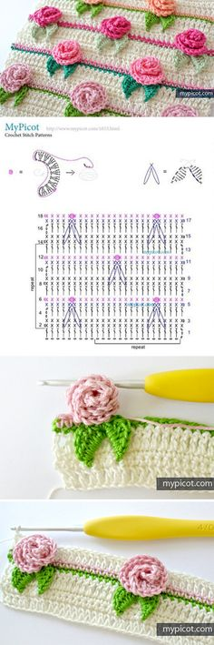 Flower stitch is one of the most vast type of stitch in the crochet world. - - Flower stitch is one of the most vast type of stitch in the crochet world. But, this rose stitch crochet pattern is one of the most beautiful I have e. Stitch Crochet, Crochet Motifs, Crochet Flower Patterns, Crochet Diagram, Crochet Stitches Patterns, Crochet Chart, Crochet Designs, Crochet Flowers, Knitting Patterns
