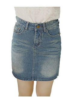 cc040d73c Enlishop Womens Back Slit Distressed Slim Flare Denim Jean Pencil Skirt  Blue * For more information, visit image link.
